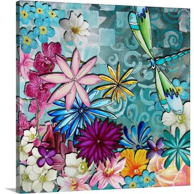 "36 in. x 36 in. ""Whimsical Floral Collage I"" by  Megan Duncanson Canvas Wall Art"