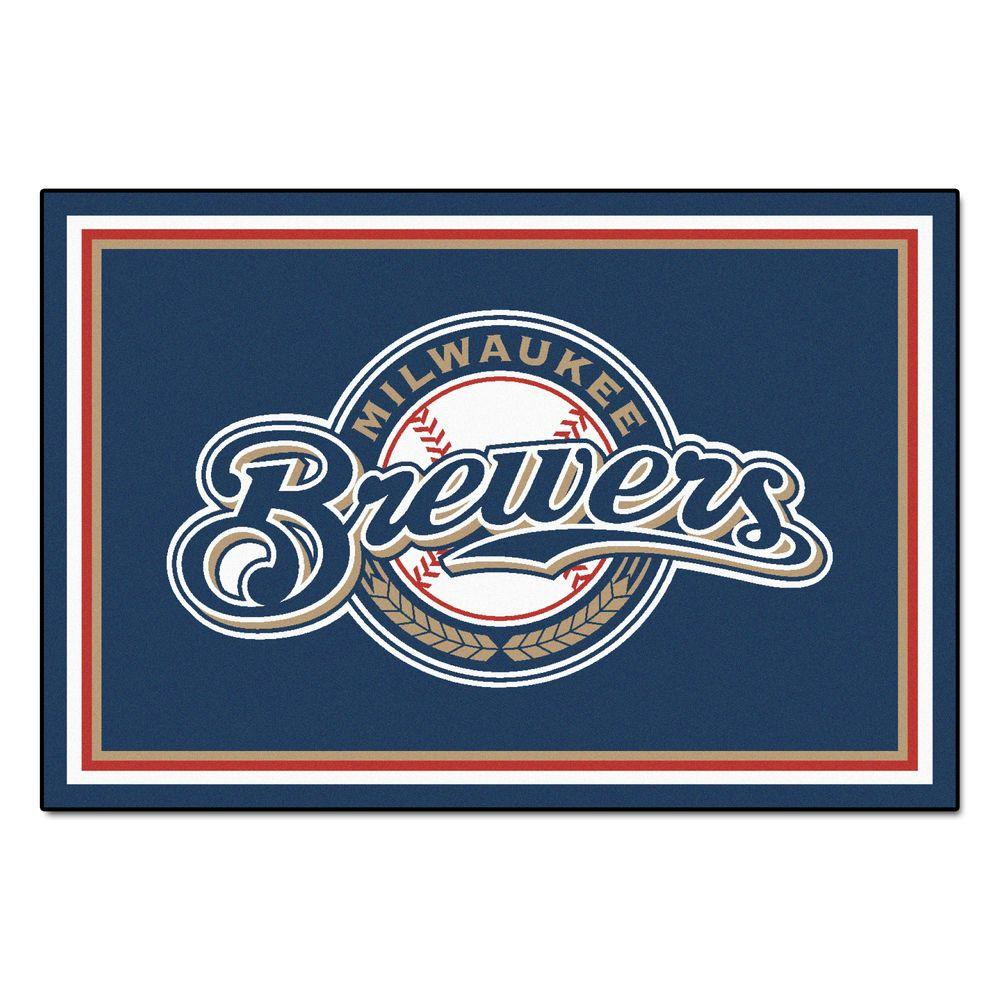 Fan Mats Milwaukee Brewers 5 ft. x 8 ft. Area Rug, Team C...
