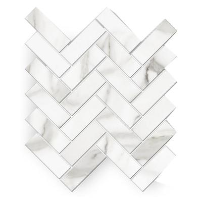 Avante Bianco 12 in. x 15 in. x 9 mm Porcelain Herringbone Mosaic Tile (5.65 sq. ft. / case)