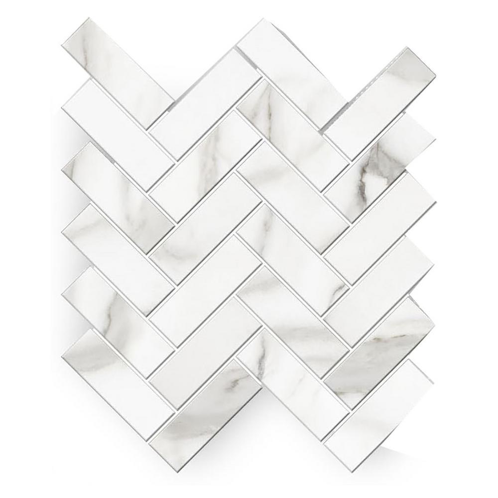 Avante Bianco 12 in. x 15 in. x 9 mm Porcelain Herringbone Mosaic Tile (6.65 sq. ft. / case)