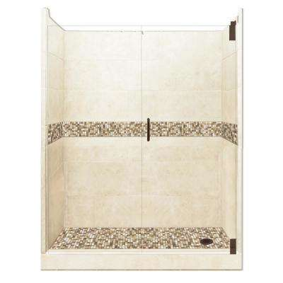 Roma Grand Hinged 36 in. x 60 in. x 80 in. Right Drain Alcove Shower Kit in Desert Sand and Old Bronze Hardware