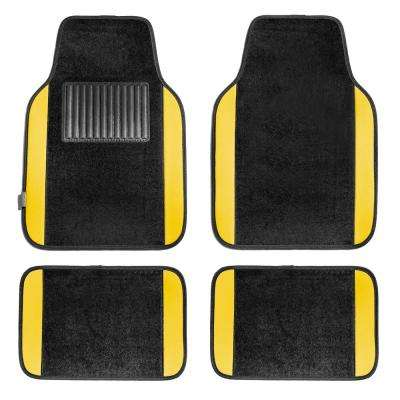 Yellow Durable 4-Piece 25 in. x 17 in. Carpet Floor Mats