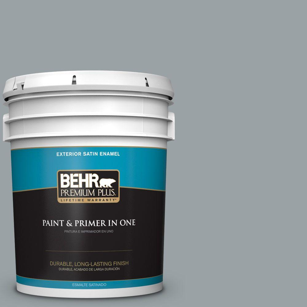 5 gal. #HDC-SM16-02 River Rock Grey Satin Enamel Exterior Paint