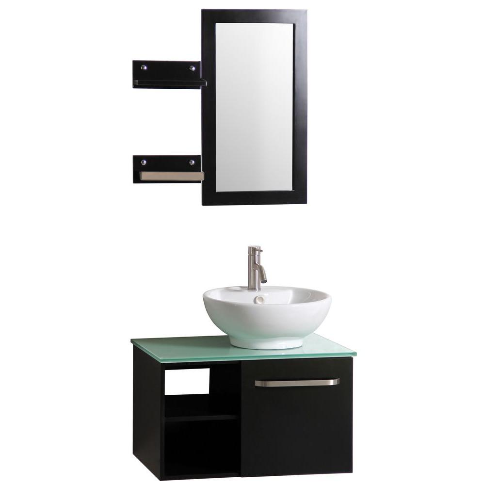 vanity in dark wenge with vitreous china vanity top in white and - Bathroom Sink Cabinets Home Depot