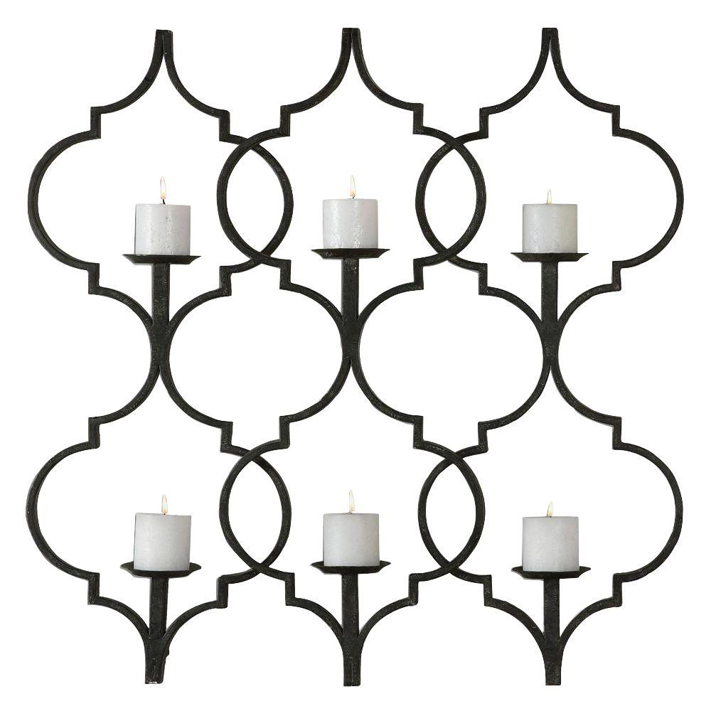 Home Decorators Collection 36 in. x 36 in. Aged Black Wall Hanging with Antiqued Candles
