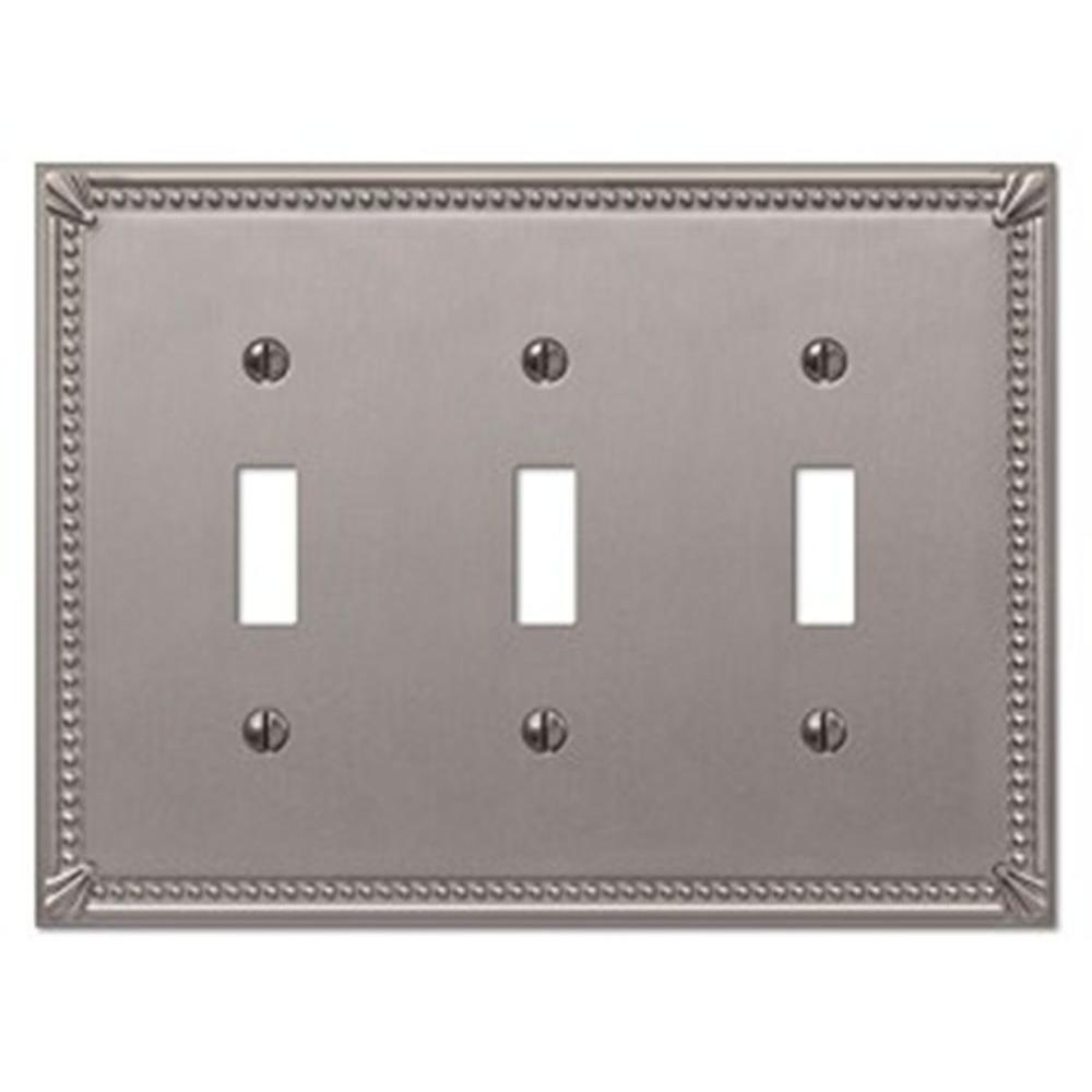 Creative Accents Imperial 3 Toggle Wall Plate - Brushed Nickel-DISCONTINUED