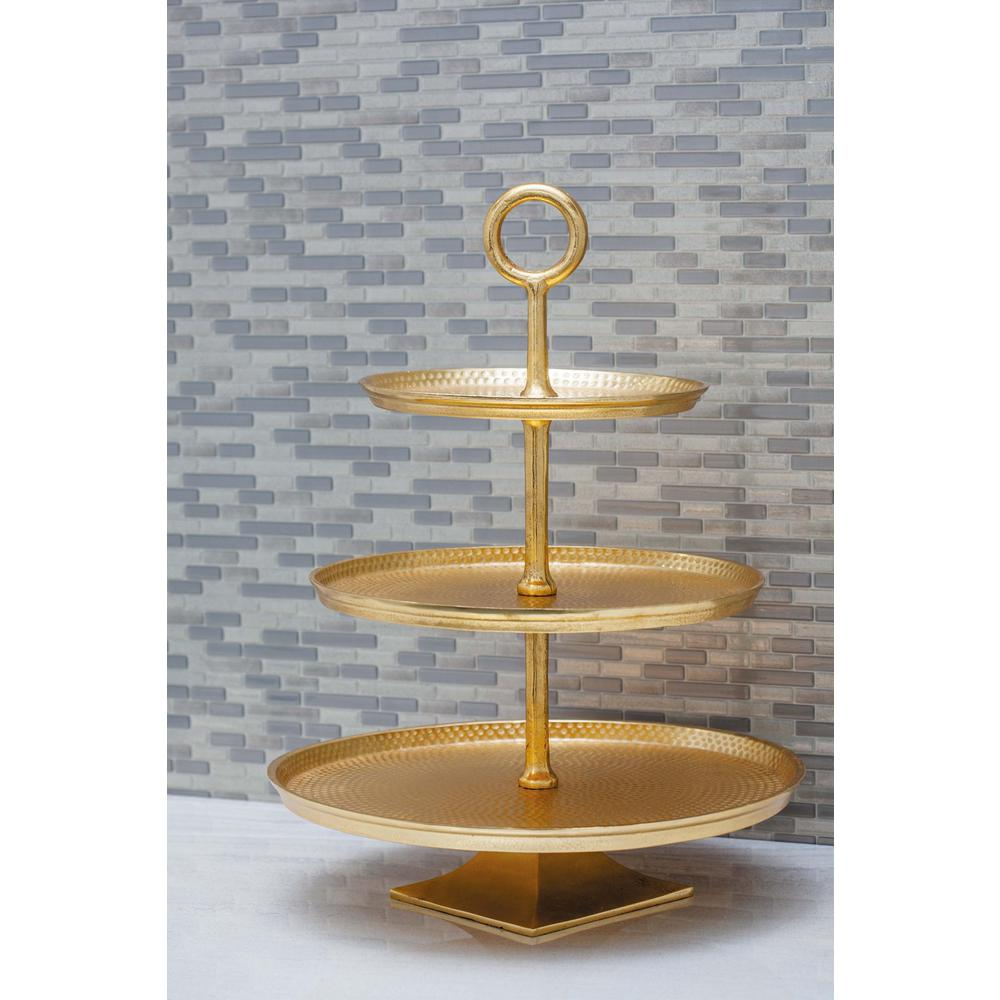 3-Tier Modern Aluminum Cake Stand in Gold  sc 1 st  The Home Depot : tier cake plate - pezcame.com