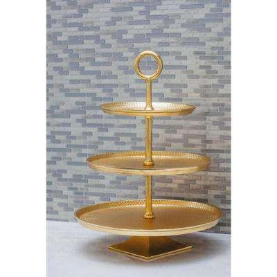 3-Tier Modern Aluminum Cake Stand in Gold