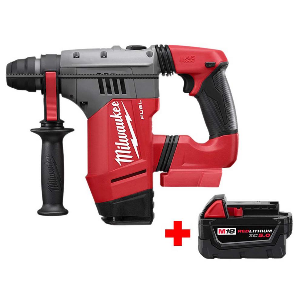 Milwaukee M18 FUEL 18-Volt Lithium-Ion Brushless Cordless 1-1/8 in. SDS-Plus Rotary Hammer with Free M18 5.0Ah Battery