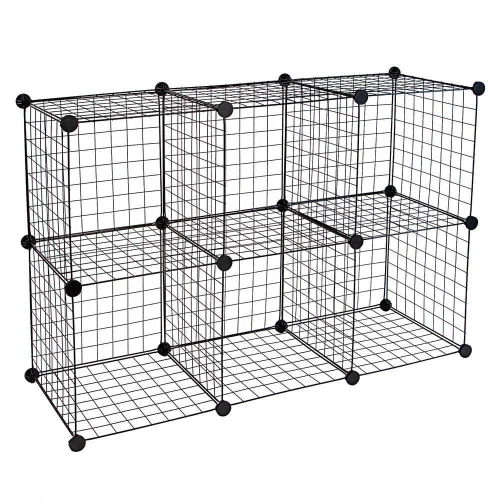 1 Gal. Wire Storage Cubes 6-Cube Metal Grid Organizer