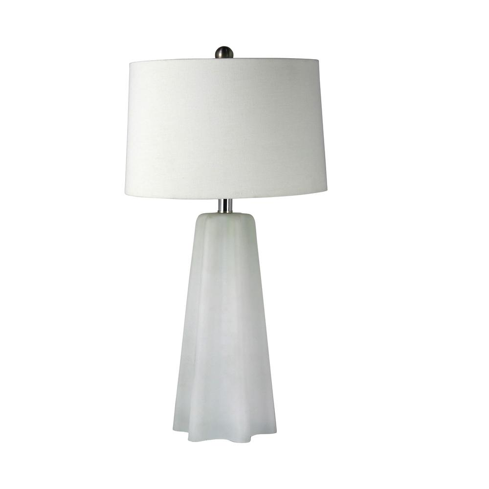 Fangio Lighting 28 In Frosted White Tapered Scalloped Column Glass