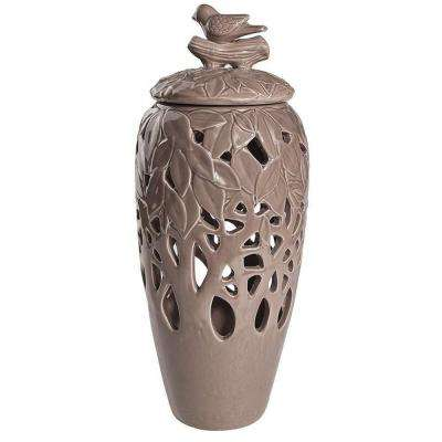 Ucello 6.5 in. Taupe Decorative Jar