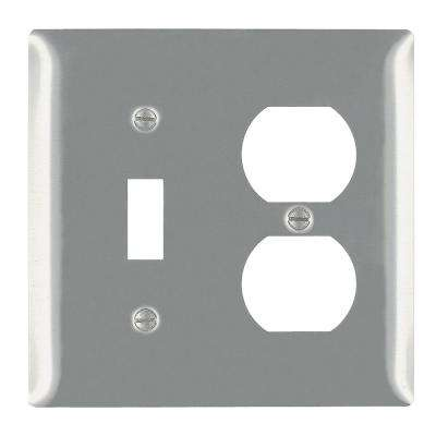302 Series 2-Gang Toggle/Duplex Combination Wall Plate in Stainless Steel