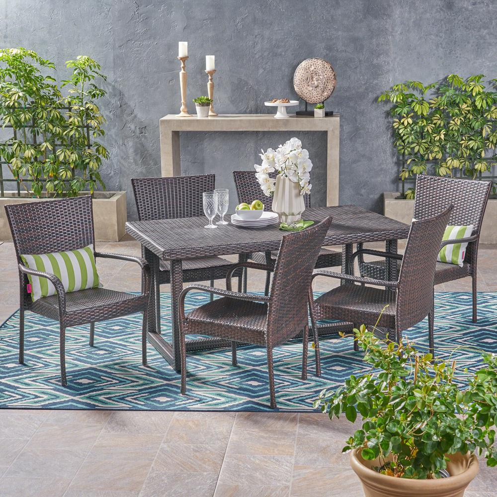 Noble House Chase Multi-Brown 7-Piece Wicker Outdoor Dining Set with Stacking Chairs
