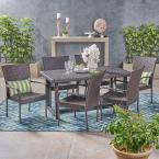 Chase Multi-Brown 7-Piece Wicker Outdoor Dining Set with Stacking Chairs