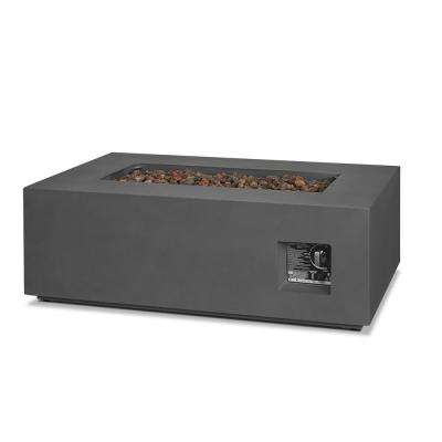 Aegean 42 in. x 13 in. Rectangle Steel Propane Fire Pit Table in Weathered Slate with NG Conversion Kit