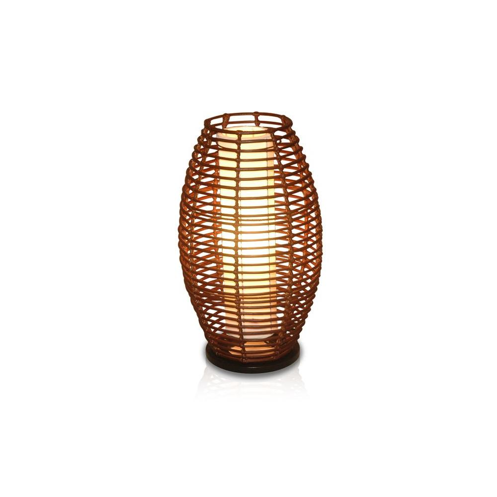 Jeffan bishop 25 in dark espresso elliptical shape table lamp with dark espresso elliptical shape table lamp with natural rattan weave aloadofball Images