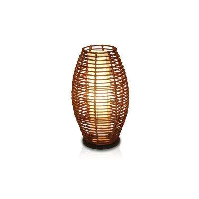 Bishop 25 in. Dark Espresso Elliptical Shape Table Lamp With Natural Rattan Weave