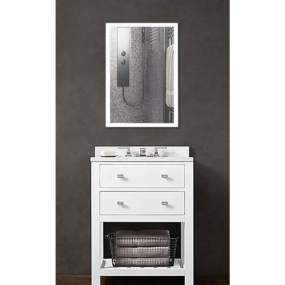 31.25 in. x 25.25 in. Matte White Metal Framed Vanity/Wall Mirror