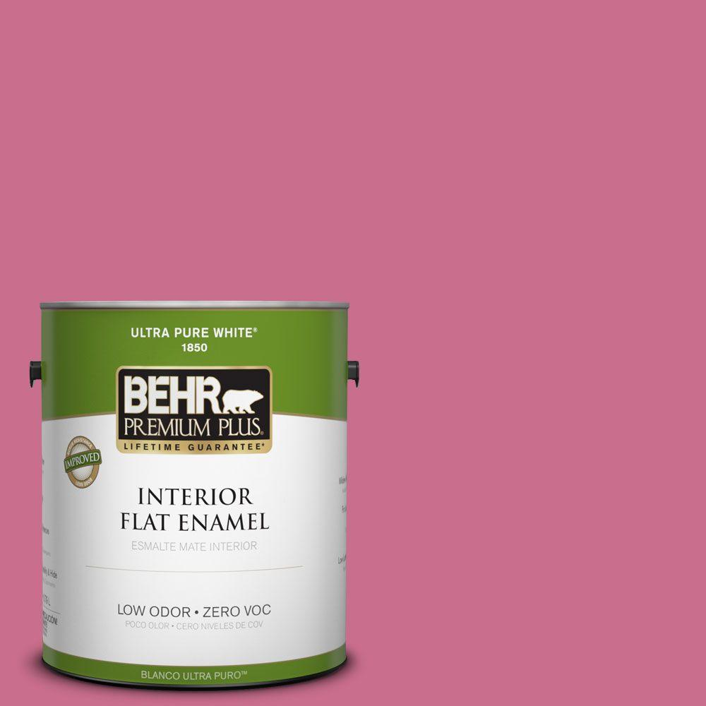 BEHR Premium Plus 1-gal. #110B-5 Silk Ribbon Zero VOC Flat Enamel Interior Paint-DISCONTINUED