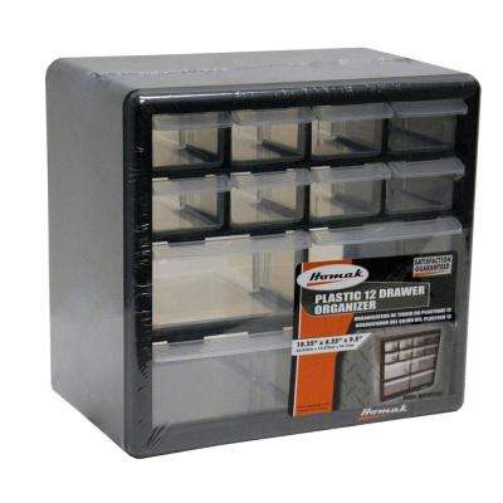 12-Compartment Non Stackable Small Part Organizer in Black