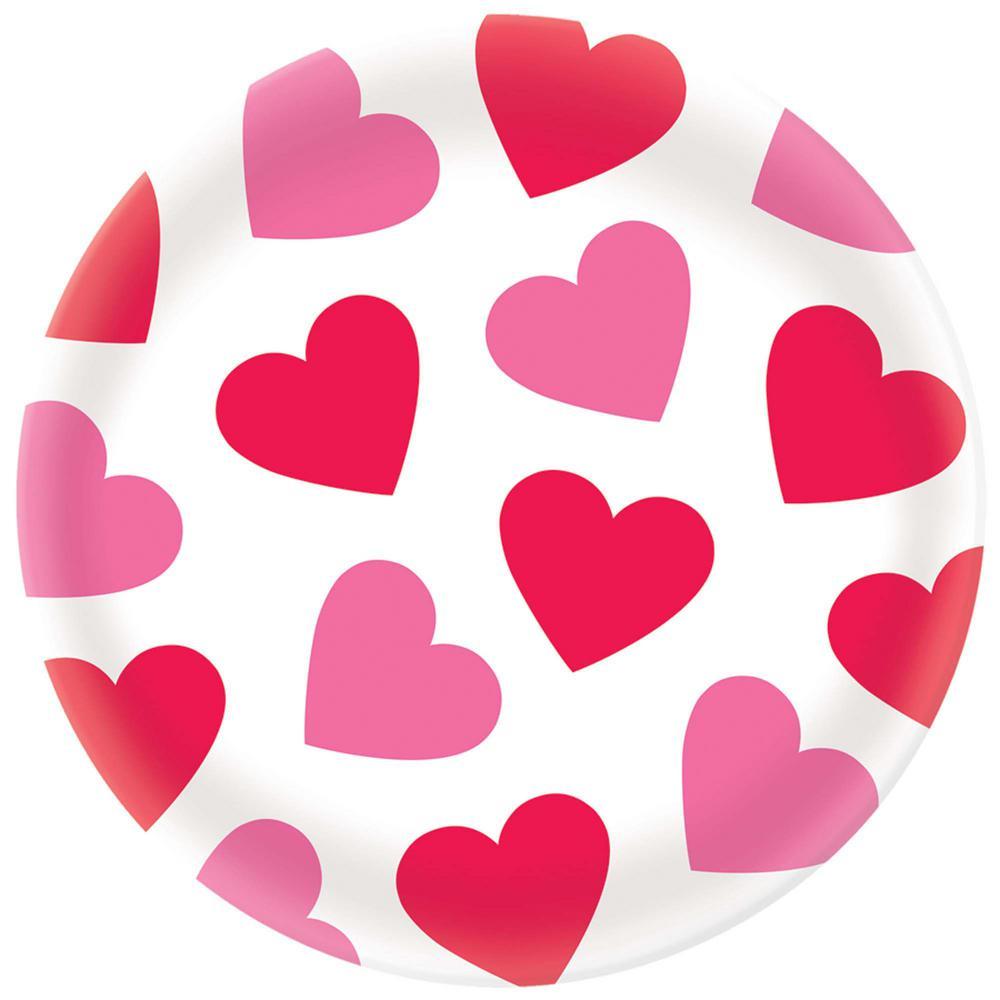 Hearts 13.5 in. x 13.5 in. Melamine Valentine's Day Round Platter (4-Pack)