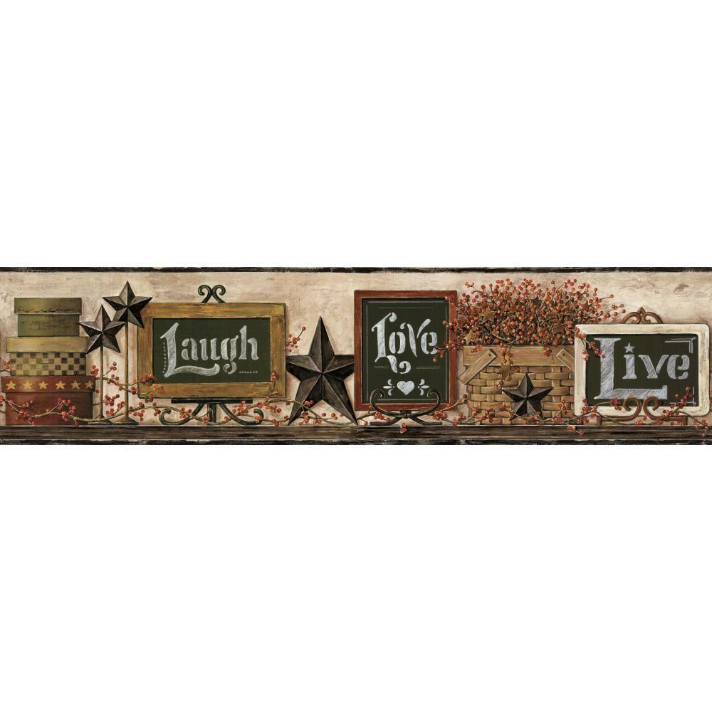 York Wallcoverings Country Keepsakes Chalkboard Shelf Wallpaper Border