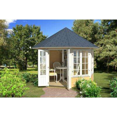 9 ft. 8 in. x 9 ft. 8 in. Enclosed Log Octagon Gazebo Private Outside Dining Area