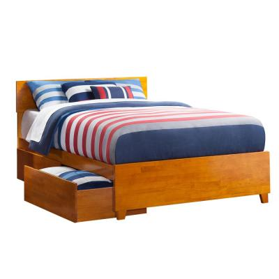 Orlando Caramel Queen Platform Bed with Matching Foot Board with 2-Urban Bed Drawers