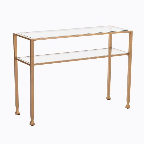 Southern Enterprises Galena Gold Metal and Glass Console Table HD524337