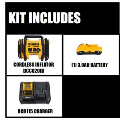 20-Volt MAX Inflator with Bonus Lithium Ion Battery Pack 3.0 Ah and Charger