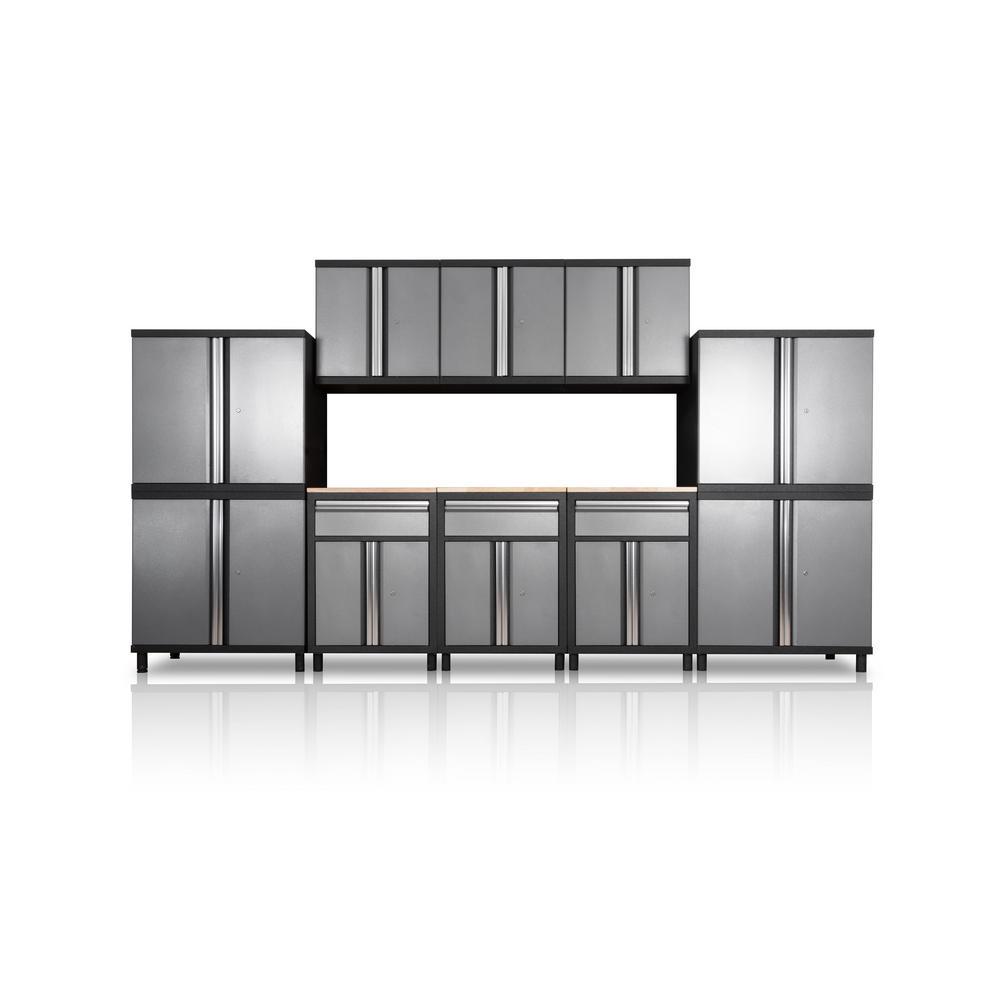 Pro Series III 81.1 in. H x 152.4 in. W x 18 in. D 23/24-Gauge Steel Wood Worktop Cabinet Set in Gray (10-Piece)