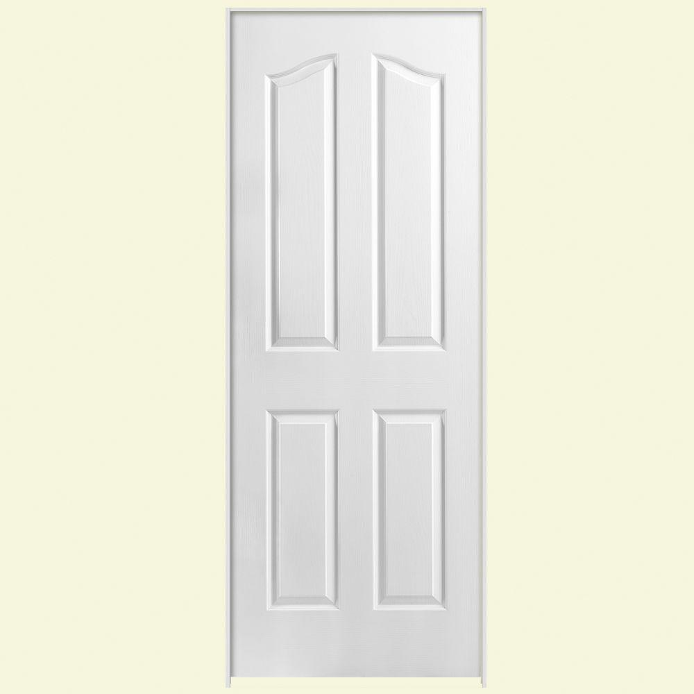 Masonite Textured 4-Panel Arch Top Hollow Core Primed Composite Single Prehung Interior Door