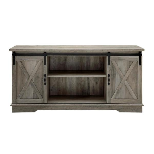 58 in. Gray Wash Composite TV Stand 69 in. with Doors