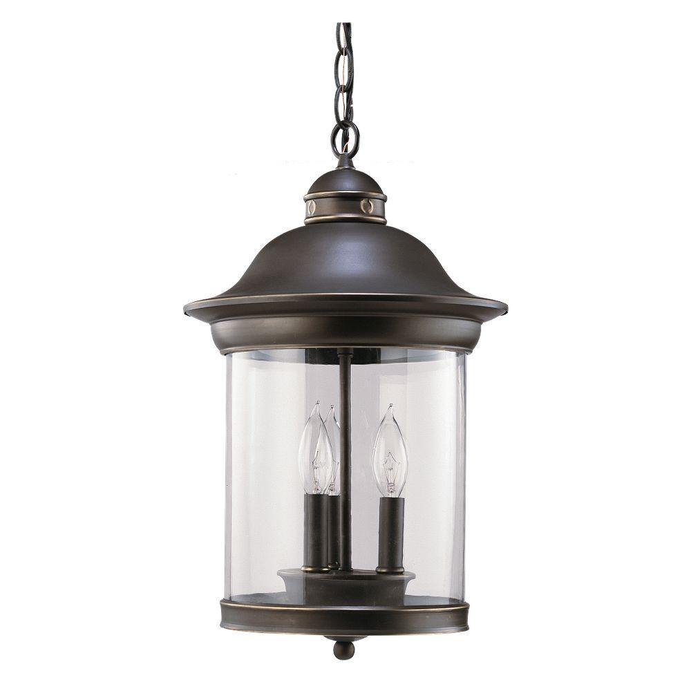 Sea Gull Lighting Classico 3-Light Antique Bronze Outdoor Hanging Pendant