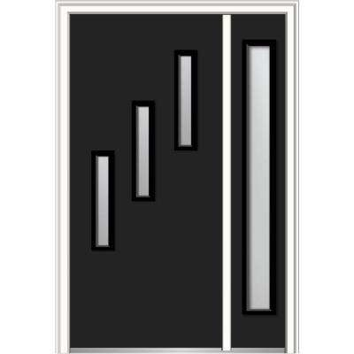 48 in. x 80 in. Davina Frosted Glass Left-Hand Inswing 3-Lite Modern Painted Steel Prehung Front Door with Sidelite
