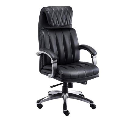 Black PU Leather Reclining High Back Executive Office Swivel Chair with Waterfall seat