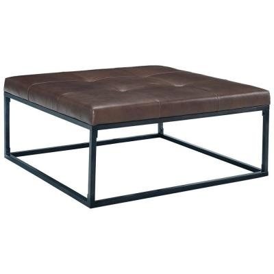 Brown and Black Leather Tufted Oversized Accent Ottoman with Metal Base