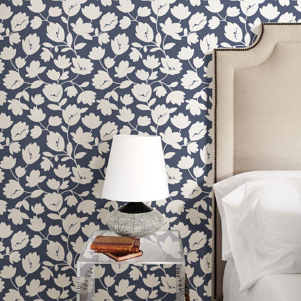 56.4 sq. ft. Astrid Navy Floral Wallpaper