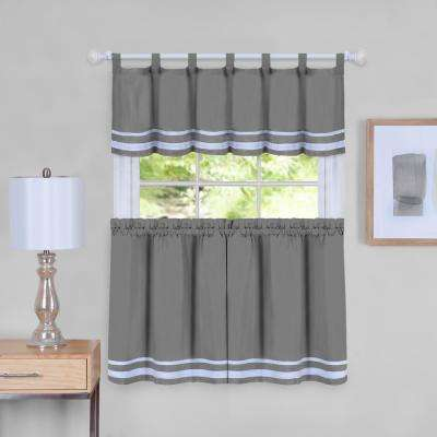 Dakota 58 in. W x 36 in. L Polyester Tier and Valance Curtain Set in Grey