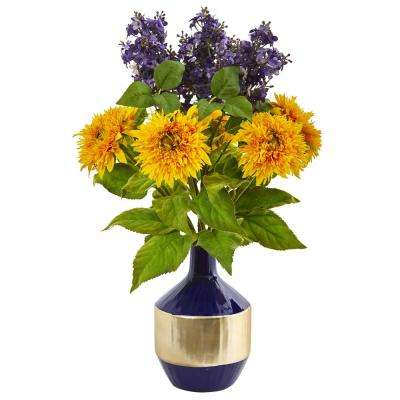24 in. Sunflower and Lilac Artificial Arrangement in Blue and Gold Vase