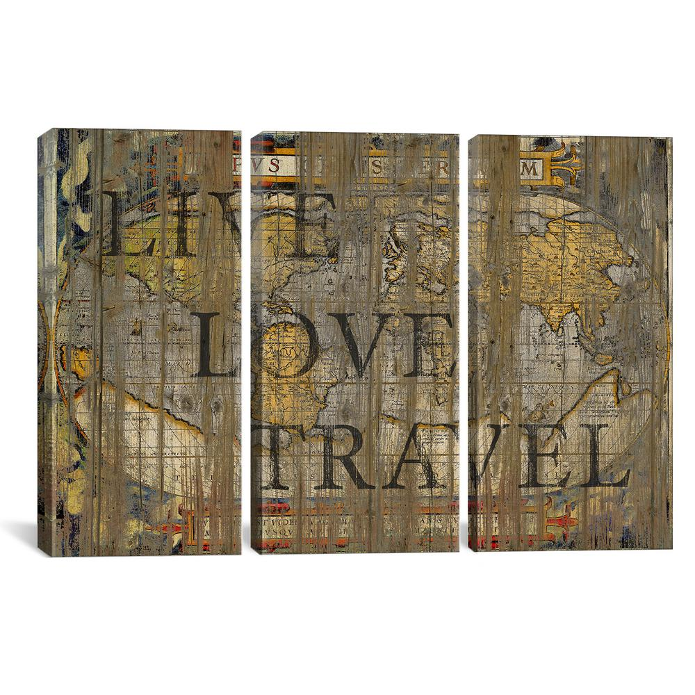 Icanvas Live Love Travel By Go Tirigall Canvas Wall Art