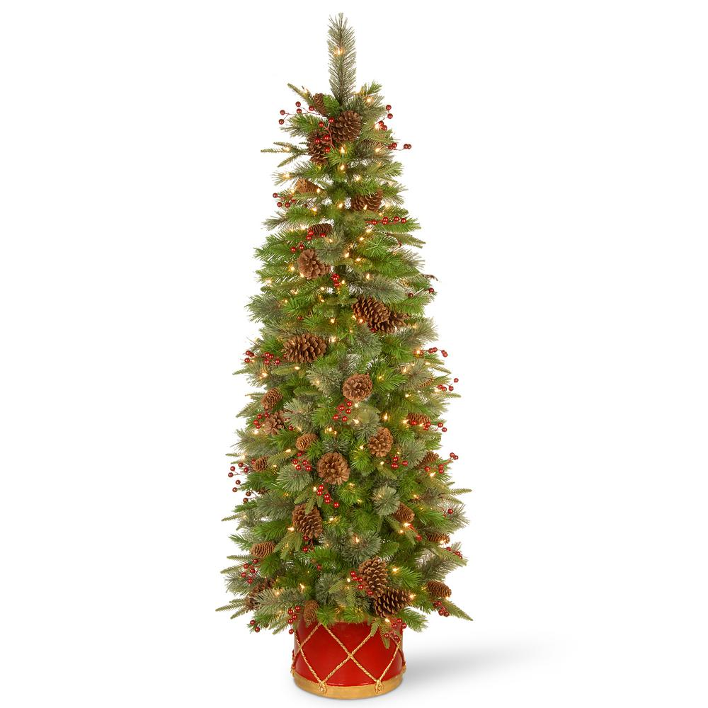 Pre Lit Half Christmas Tree: National Tree Company 6 Ft. Artificial Colonial Slim Half
