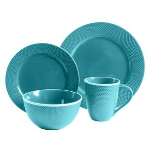 Click here to buy Gibson Home Lilith 16-Piece Turquoise Dinnerware Set by Gibson Home.