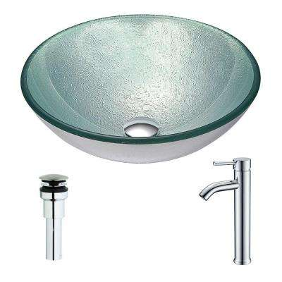 Spirito Series Deco-Glass Vessel Sink in Churning Silver with Fann Faucet in Brushed Nickel