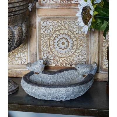 6 in. x 12 in. Distressed White Polystone Heart-Shaped Bird Feeder with Gray and Gold Accents