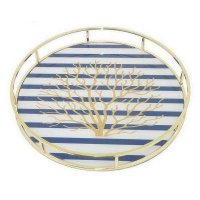 2 in. Metal Tray with Designs in Gold