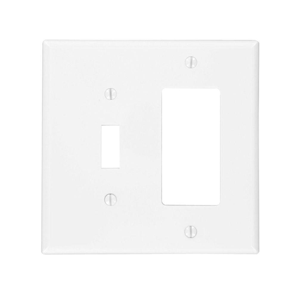 Leviton White 2 Gang 1 Toggle 1 Decorator Rocker Wall Plate 1 Pack R52 Pj126 00w The Home Depot