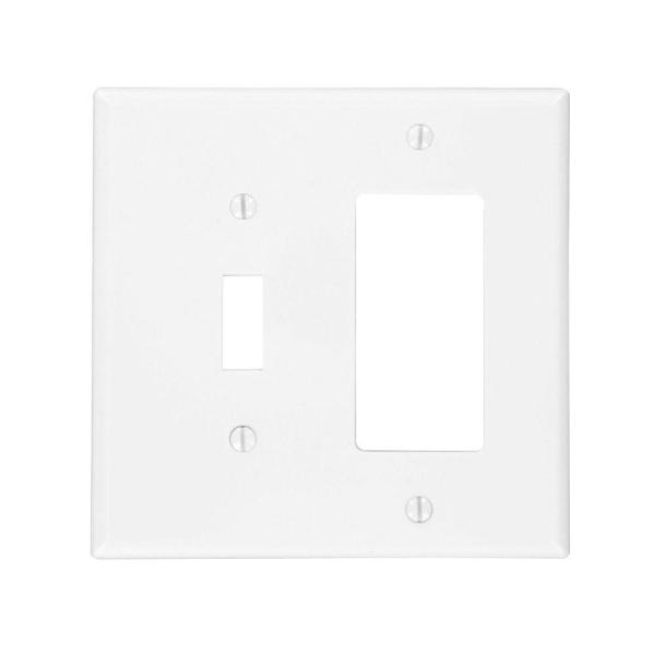 White 2-Gang 1-Toggle/1-Decorator/Rocker Wall Plate (1-Pack)