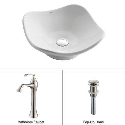 Tulip Ceramic Vessel Sink in White with Ventus Faucet in Brushed Nickel